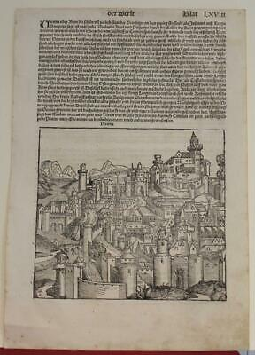 Verona Italy 1493 Schedel Antique Woodcut View Princeps First German Edition