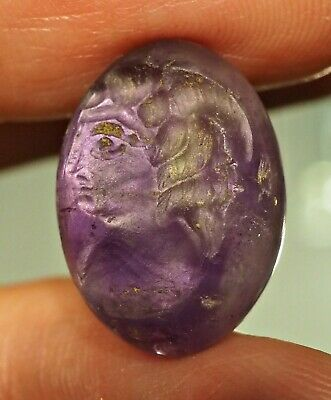 Ancient Amethyst Egyptian Intaglio King Face protection Bead Stamp Pendant