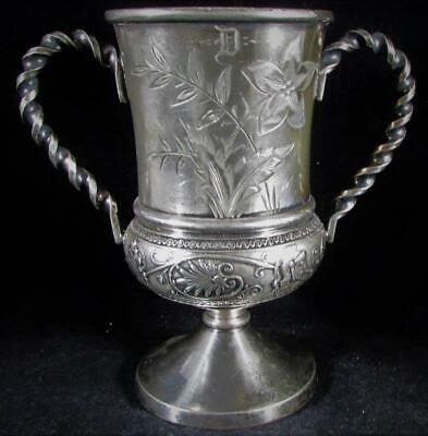 Antique Middletown Plate Co Silver Plate Wedding Goblet 2 Handled Opposite Faces