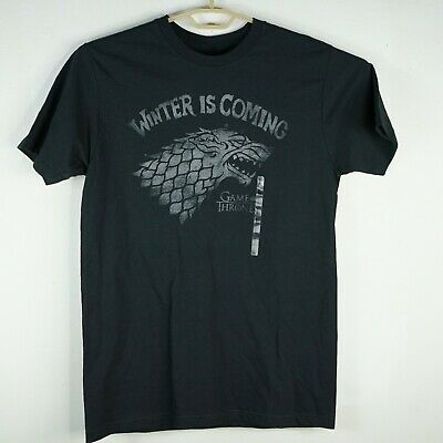 "Official T Shirt Game of Thrones House Stark ""Winter is coming"" Direwolf Sz L"