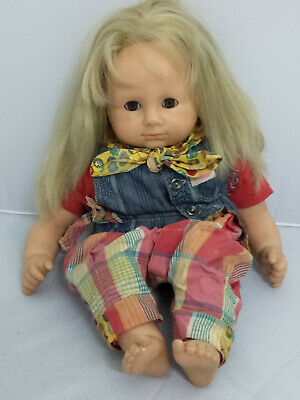 "Rare Vintage 16"" German Made Gotz Puppe Doll Blonde Hair, Brown Eyes. No. 360-16"