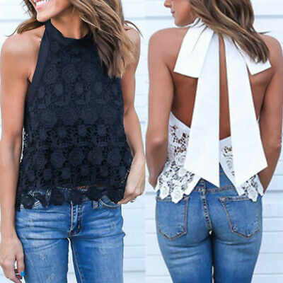Womens Casual Backless Tank Tops Sleeveless Lace Tee Summer Shirt Blouse Cami