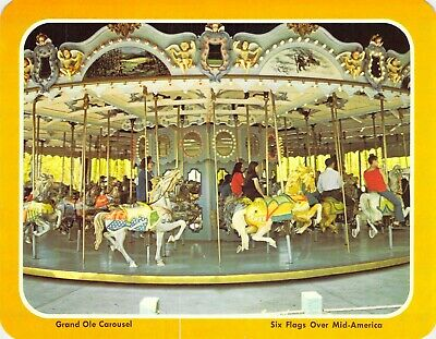 postcard BIG 5.25x6.75 GRAND OLE CAROUSEL Six Flags over Mid-America