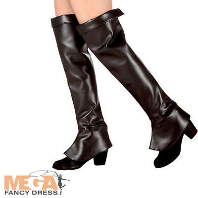 Black Hunter Boot Tops Covers Ladies Fancy Dress Pirate Adults Costume Accessory