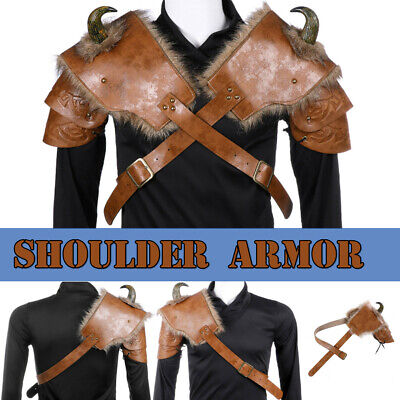 Adults PU Leather Cosplay Medieval Vikings Armor Shoulder Prop Costume Halloween