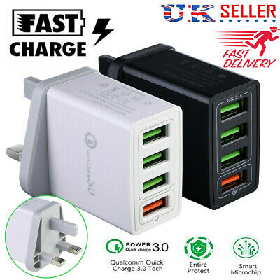 4 Multi-Port Fast Quick Charge QC 3.0 USB Hub Mains Wall Charger Adapter Plug UK