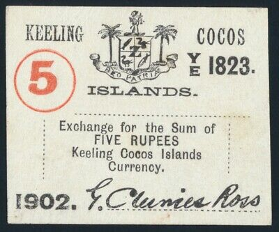 Keeling Cocos Islands: 1902 5 Rupees . Pick S128 UNC Cat $467 SCARCE!