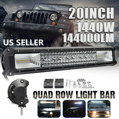 20'' Inch Quad-row LED Work Light Bar Combo Offroad Driving Lamp Car Trucks