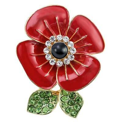 New Poppy Pin Badges Red Crystal Enamel Brooch Lapel 2019 Day Collection Badge