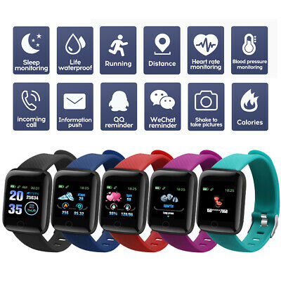 116Plus Smart Watch Bluetooth Heart Rate Blood Pressure Monitor Fitness Tracker