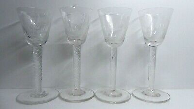 Set 4 Antique Hand Made Etched Cut Glass Goblets Wine Glasses Twist Spiral Stem