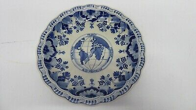 Vintage Delft Blue White Hand Painted Wall Plate World Medical Assoc. Hague 1953