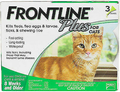 NEW Merial Frontline Plus for Cats and Kittens Up to 8-Week and Older 3 Doses