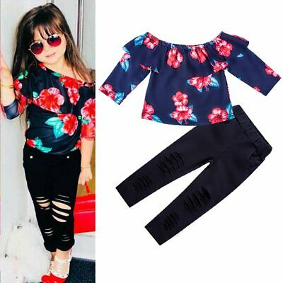 2PCS/Set Fashion Toddler Kids Baby Girl Outfits T-shirt Tops+Holes Pants Clothes