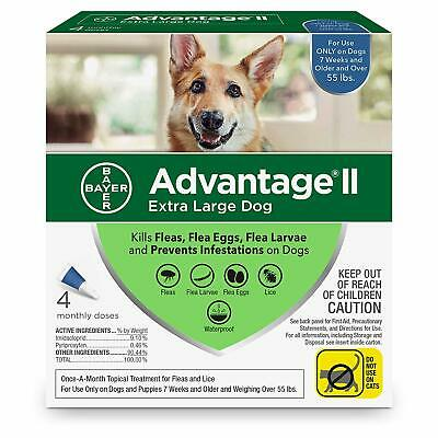Bayer Advantage II for Extra Large Dogs Over 55 lbs - 4 Pack - NEW