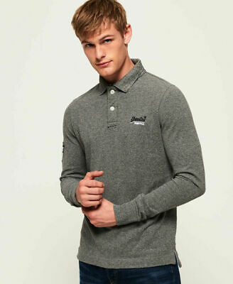New Mens Superdry Classic Pique Long Sleeve Polo Shirt Hammer Grey Grit