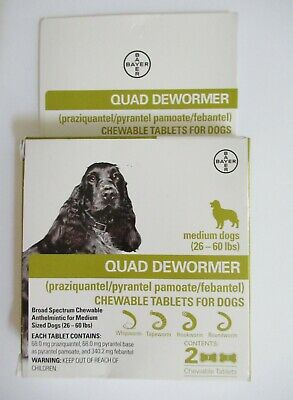 Bayer Quad Chewable Dewormer for Medium Size Dogs 26-60lbs 2 tablets