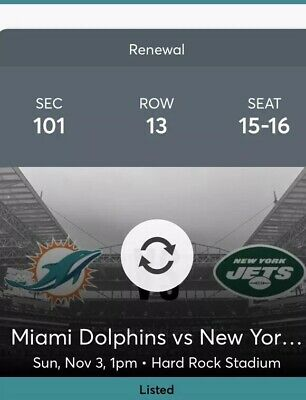 2SEC101, MIAMI DOLPHINS VS. New York Jets AND YELLOW PARKING PASS