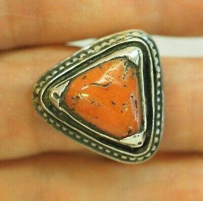 Antique Old Salmon Skin Red Coral Protection Pyramid YE STERLING SILVER  Ring