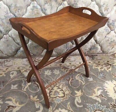 Vintage Mahogany Butler Removable Breakfast Tray Tea Table Curved Folding Stand