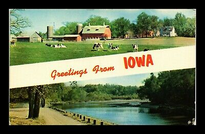 Dr Jim Stamps Us Greetings From Iowa Two Views Chrome Postcard