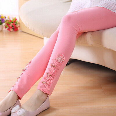 New Toddler Kids Girls Tight Pants Lace Floral Stretchy Leggings Trousers 4~10Y