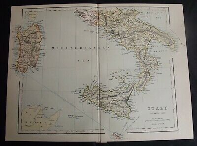 Antique Map: Italy (Southern Part), Europe, c 1880, Colour