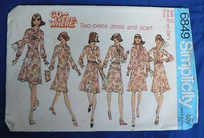 Simplicity 'Go Everywhere Two-piece Dress and Scarf' Sewing Pattern no 6849