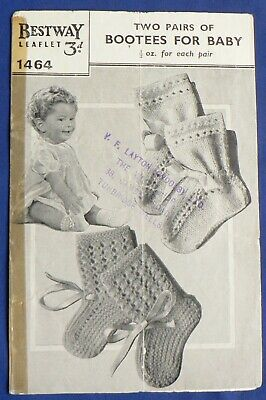 Bestway 'Two Pairs of Bootees for Baby' knitting pattern leaflet 1464