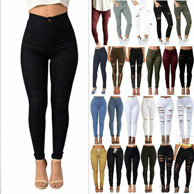 Women Ripped Frayed High Waist Pencil Trousers Jeans Skinny Solid Pants Jeggings