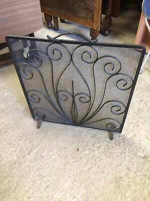 Used Decorative Wrought Iron & Mesh Fire Guard   2/9/N