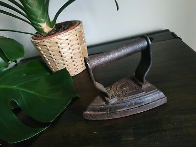 Antique vintage flat cast IRON GIFT display Victorian house spring cleaning