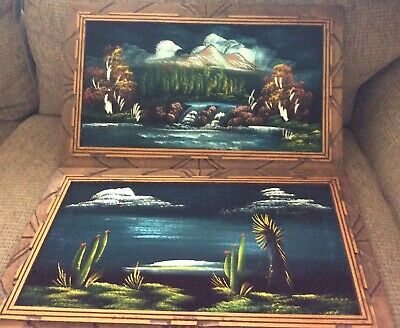 Vintage Set Of Velvet Paintings Circa 1970s Hand Painted And Framed In Arizona