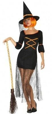 Donna Sexy Strega Halloween Costume da Carnevale Vestito UK 8-18