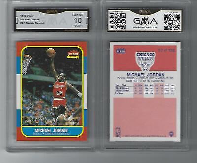 2 CARD LOT 1986 Fleer Michael Jordan #57 ROOKIE REPRINT Graded GMA 10 Gem Mint
