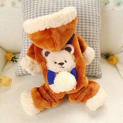 Small Dog Costume Winter Warm Fleece Cat Puppy Jumpsuit Thick Pet Hoodie Apparel