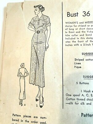 """VTG 1940s SUPERIOR AFTERNOON PENCIL DRESS SEWING PATTERN  Bust 36"""" -UNPRINTED"""