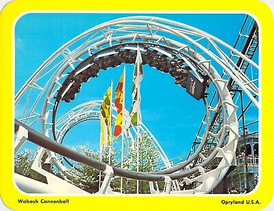 postcard BIG 5.25x6.75 WABASH Cannonball Roller Coaster OPRYLAND Nashville TN