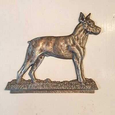 "Doberman Pinscher Dog Cast Metal Sign Topper 10"" Shop Project Plaque Cropped Ear"