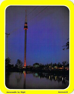 postcard BIG 5.25x6.75 ASTROWORLD - Astroneedle by night -  Amusement Park - TX