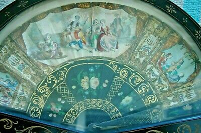 Antique Ornate Early 19th French Transfer & Hand Painted Fan Gilt Lacquer Framed