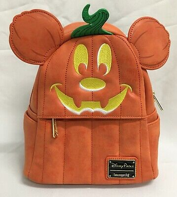 Loungefly Disney Parks Mickey Mouse Pumpkin  Halloween Mini Backpack FAUX SUEDE