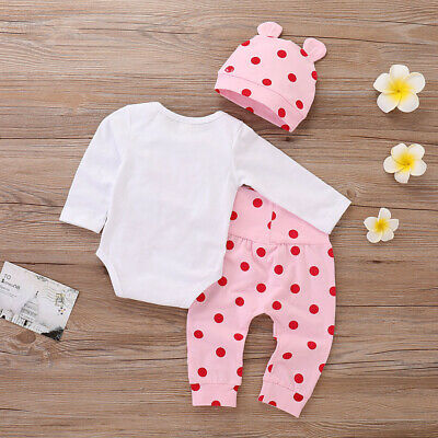 3x Newborn Baby Boy Girl Christmas Tops Romper Pants Hat Outfits Clothes Set