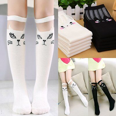 Baby Kids Girls Cute Fox Cat Soft Cotton Knee High Socks Stockings Tights