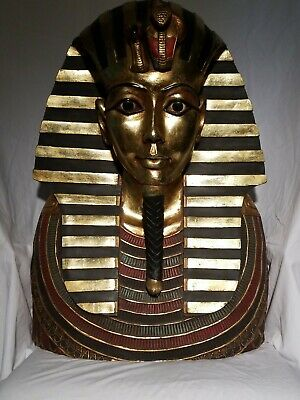 Life Size Tutankhamen King Tut 2ft Wall Sculpture Golden Cobra Vulture Egyptian