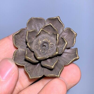 Rare Collectible Chinese Old Antique Brass Handwork Lotus Incense Holder Statue