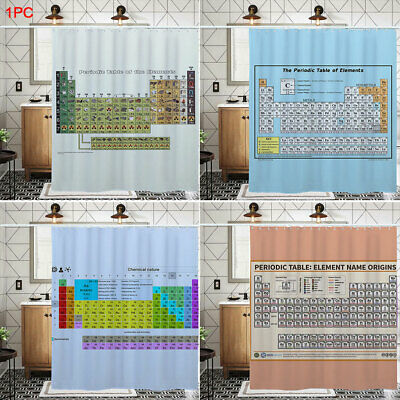 Printed Shower Curtain Bath Decor Periodic Table Of Elements Waterproof Colorful