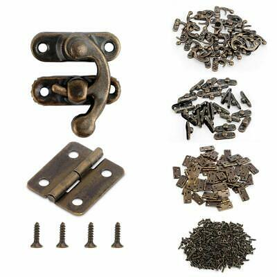 Alcoon 50 Sets Antique Bronze Mini Hinges and 30 Sets Antique Right Latch Hoo...