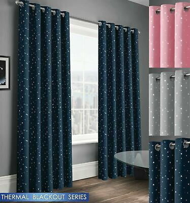 Pairs Star Thermal Blackout Curtains Eyelet Ready Made Kids Boys Girls Bedroom