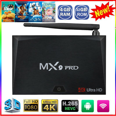 Smart MX9 PRO Android 7.1 Quad Core 4GB+32GB TV Box 1080P 4K 3D Dual WIFI BT4.1